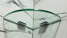 """8"""" Glass Corner Shower Shelf Kit - Quarter Rounded- With 2.16 """" Mounting Clamps"""