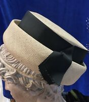VINTAGE BRETON SAILOR Hat BEIGE Straw Bow Ladies RETRO Glamour INSIDE BRIM 20.5""