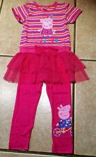 NWT Cartoon Pig Heart Stripes Pink Tulle Applique Tunic Top & Legging Set 5/6 5T