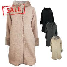 AMAVISSE UK - (RRP £50) Women Fashion Long Coat Warm Soft Acrylic Sheep like Fur