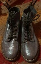 DR. MARTENS IRIDESCENT PASCAL SILVER METALLIC LEATHER BOOTS 8 EYE HOLE SIZE 4 37