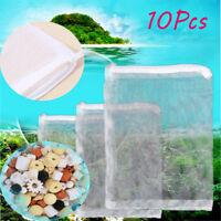 10PCS Nylon Aquarium Fish Tank Pond Filter Media Zip Mesh Net Bag Zipper White