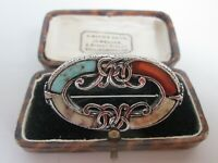 VINTAGE CELTIC SCOTTISH WELSH IRISH POLISHED AGATE BROOCH KILT PIN MIRACLE STYLE