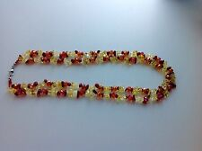 Red Jasper, Citrine & Glass Necklace in Silvertone 20 inch TGW 260.00 carats.