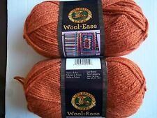 Lion Brand Wool-Ease wool blend yarn, Pumpkin, lot of 2 (197 yds each)
