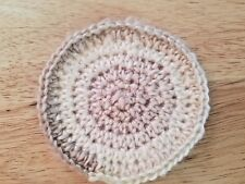 Handmade Crochet Rug for Doll House cappuccino - round - 3.5""