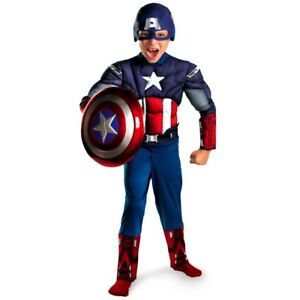 Purim Costume Child Avenger Captain America Muscle Cosplay Fancy Halloween Party