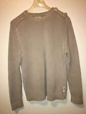McNeal Mens Crewneck Vintage Fashion Look Beige Sweater Size Small