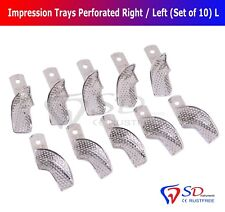 Partial Denture Impression Trays Perforated (Set of 10) Size L Right/Left NEW CE