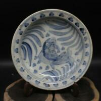 Chinese ancient antique hand make  Blue and white fish dish