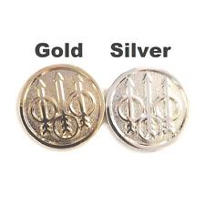 2 X Beretta Grips Pure Gold Plated Grips Emblems 15 mm Medallions