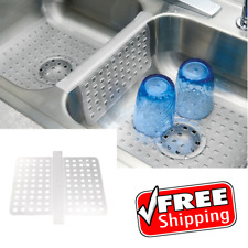 Double Sink Saddle Divider Middle Protector Mat Clear Kitchen Dish Durable Grips