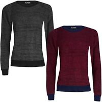 Mens Contrast Hem Long Sleeve Crew Neck Chunky Cable Knitted Pullover Jumper Top