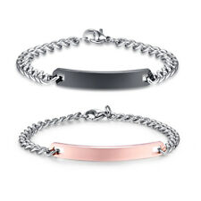 Mens Womens Stainless Steel Bracelets for Couples Custom Engraving Name and Date
