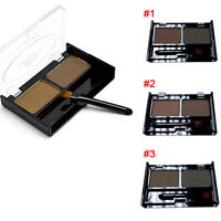 2 Color Mix Natural Waterproof Eyebrow Powder Makeup Shadow With Brush