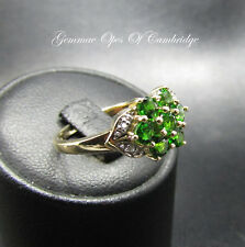 9K Gold 9ct gold Chrome Diopside and Diamond Cluster Ring Size N 2.7g