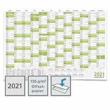 Wandkalender Wandplaner Jahresplaner Kalender 2021 - DIN A3 A2 A1 A0 - gefaltet