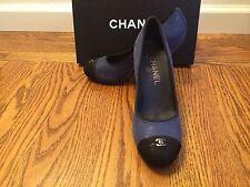 NEW CHANEL  Blue Logo Cap-Toe Classic Pumps, Shoes, Heels  37.5