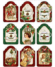 Christmas vintage inspired tea angel tags scrapbooking set of 9