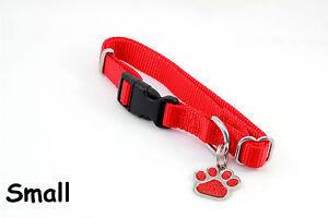 Small Adjustable Nylon Collar & Glitter Pet ID Tag Diamond Engraved Personalized