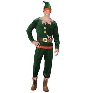 Deluxe Velvet Elf Boy Christmas Xmas Fancy Dress Costume For Men S-XL