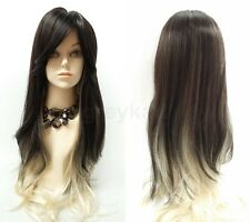 """Dark Brown & Blonde Two Tone Long Layered Straight Wig Synthetic Bangs 28"""""""