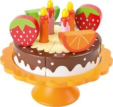Wooden Birthday Cake with Stand, Candles and Fruit Role Play Toy Gift