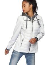 X0302 KangaROOS Damen Jacke Materialmix Softshell Steppjacke Sweat HELLGRAU 36