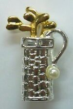 Golf Bag & Clubs Brooch Pin SIGNED Danecraft With 2 Stones Gold & Sil Plate NEW