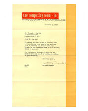 1947 Ladislav Sutnar THE COMPOSING ROOM INC. NYC Typesetting Office Letterhead