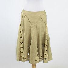 Greenish beige ZAC POSEN A-Line arrow shaped cut out knee-length skirt 6