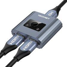 TECKNET HDMI Switch, Aluminium Alloy Bidirectional HDMI Splitter 1 in 2 Out/ 2