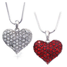 Small Clear Red Heart Necklace Set Valentine's Day Birthday Mom Sister GIFT