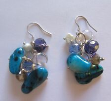 Sterling Silver earrings- Pearls- baroque pearls crystals turquoise purple blue