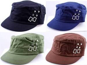 D&Y COTTON CADET MILITARY GOLF CAP HAT W/BUCKLE & STUDS