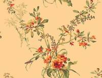 Wallpaper Designer Traditional Floral Vine Bouquet with Birds on Golden Beige