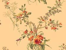 Wallpaper Designer Traditional Floral Vine Bouquet with Birds on Golden Beige