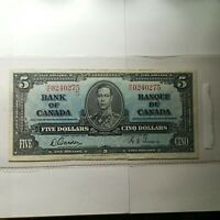 1937 CANADIAN 5 Dollar Bill with center fold EX Condition