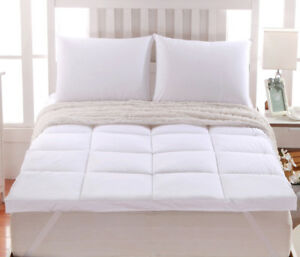 "2"" Thick Comfort Mattress Topper 100% Cotton Shell,White Alternative Down Fill"
