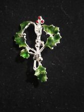 Vintage signed Kc Kenneth Cole Enamel Christmas Green Holly Brooch Pin