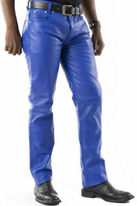 Men's Real Leather Bikers 5 Pockets Royal Blue Jeans Leather Levi's Style Pants
