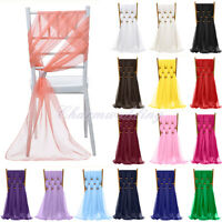 """1/5/10/20 PCS 21""""x70"""" Chiffon Chair Sash Bow Cover for Wedding Party Decoration"""