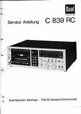 Service Manual-Anleitung für Dual C 839 RC