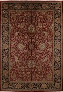 All-Over Floral Burgundy/Black Agra Oriental Area Rug Large Hand-made Wool 10x14