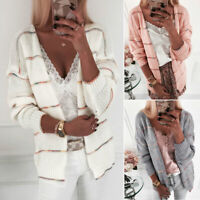 Women Chunky Knitted Long Sleeve Striped Cardigan Sweater Winter Coat Jacket Top
