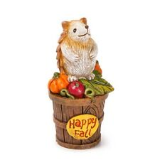 "MINIATURE Happy Fall HEDGEHOG Decoration w /Harvest Basket 2.5"" for FAIRY GARDEN"