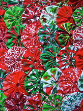 "60 Christmas Yo 1"" Fabric Quilt Miniature Button Embellishment Trim Applique"