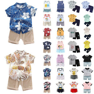 Kid Baby Boy Hawaii Floral Short Sleeve T Shirt Top Shorts Cute Print Outfits.
