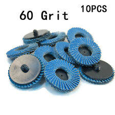 10pcs 2'' inch 60 Grit Flap Sanding Disc Wheels R Roloc Threaded Twist Lock Set