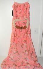 No Boundaries Women's size M 7-9 Dress Pink Floral full length Strapless & belt